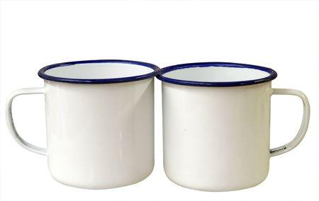 enamel: Two Enamel Mugs isolated