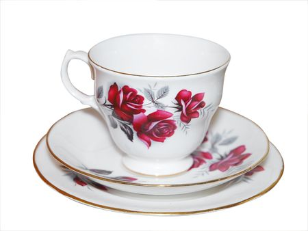 Cup saucer and Plate with Roses isolated Stock Photo - 4589948