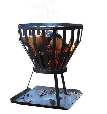 brazier: Brazier with wood Fire isolated
