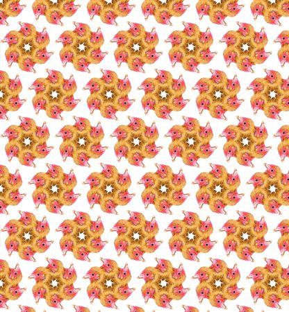 Chicken Ninja Star Seamless Pattern      photo