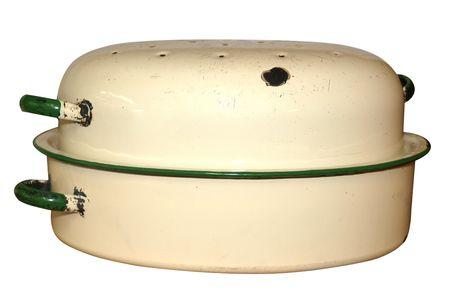Old Enamel Roasting Dish isolated  Stock Photo - 4868441