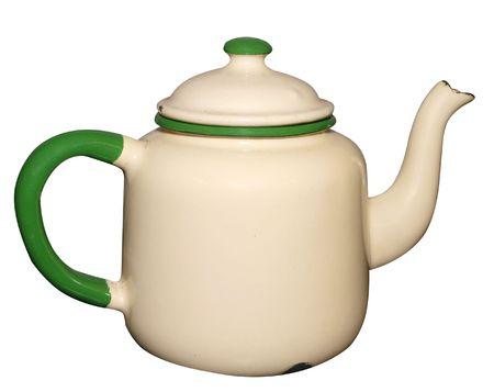 Old Enamel Teapot isolated Stock Photo - 4972880