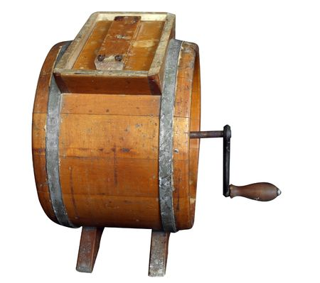 wooden lid: Antique Wooden Butter Churn isolated  Stock Photo
