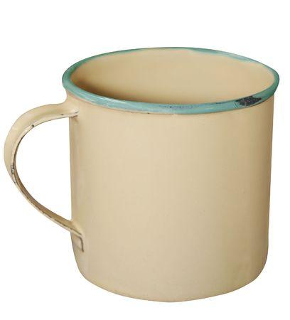 Cream and Green Enamel Mug isolated Stock Photo - 5068388
