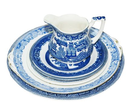 Blue Pattern Jug and Plates isolated Stock Photo - 5536656