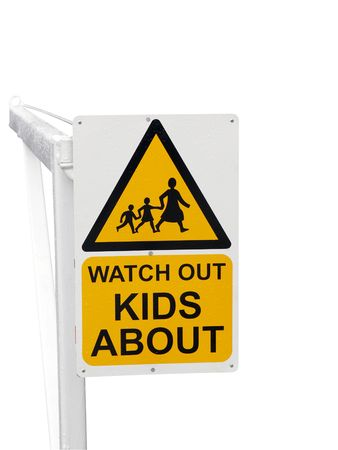 drive safely: Sign Warnng to Watch out for Children isolated with path
