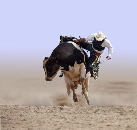 rodeo cowboy: Cowboy Falling off a Bull Stock Photo