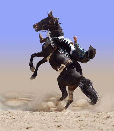 bucking horse: Bucking Rodeo Horse with Rider