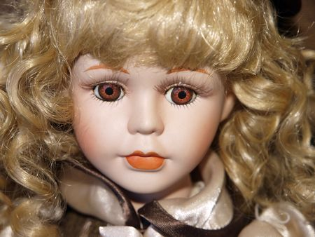 antique: Antique Doll with Blond Curly Hair