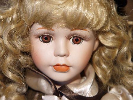 muneca vintage: Doll antig�edad con cabello rizado Rubio
