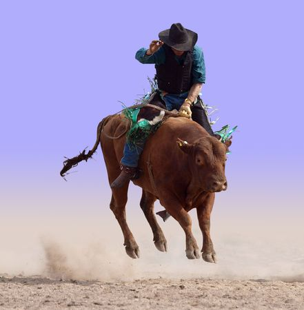 arena rodeo: Airborne on a Bull Stock Photo