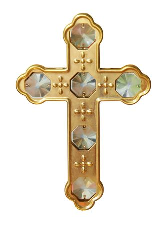 gold cross: Gold Cross with Crystals isolated