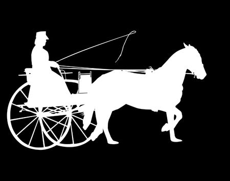 horse cart: Silhouette of Horse and Buggy isolated