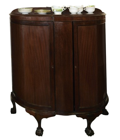 Antique Cabinet with crockery isolated  Stock Photo - 7040467