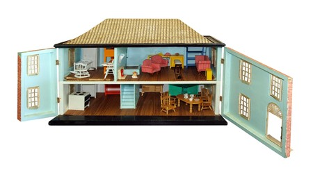 Antique Dollhouse with Doors Open