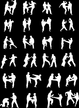 Silhouette Images of Martial Art Fighters photo
