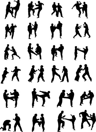 martial art: Silhouette Images of Martial Art Fighters
