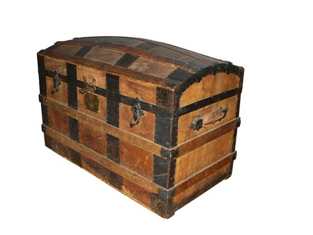 wooden lid: 19th Century Sea Chest Stock Photo