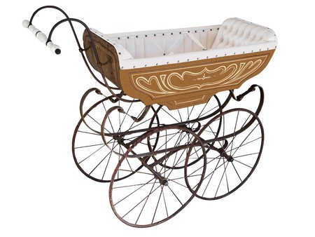 cushioned: Ornate Antique Pram Stock Photo