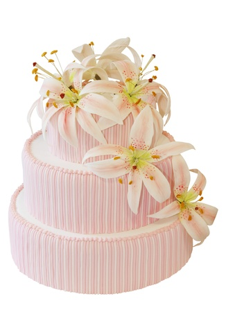 Three Tiered Iced Cake with Icing Orchid Decoration photo