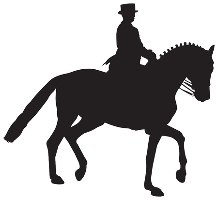 reins: Silhouette of a Dressage Horse in a Collected Trot Stock Photo