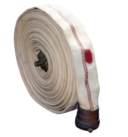 firefighting: Antique Cotton Firehose isolated