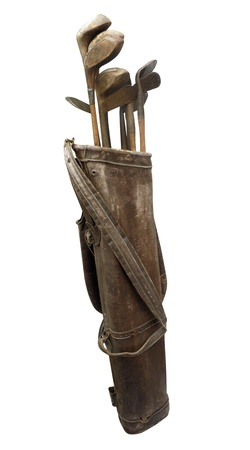 Antique Golf Clubs in Bag isolated