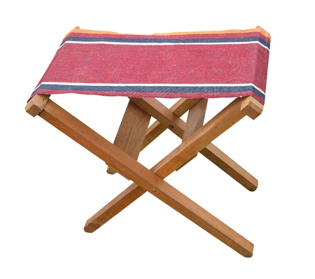 folding chair: Antique Folding Stool isolated