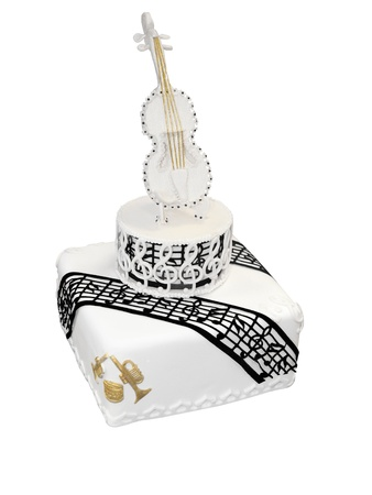 tiered: Iced Cake with Music and  Violin isolated  Stock Photo