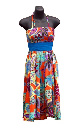 Shop Mannequin wearing a floral Dress isolated photo