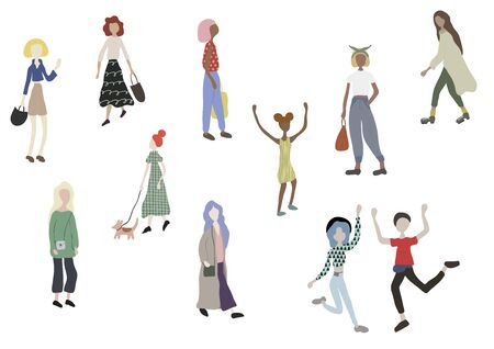 Crowd of people walking with dog, standing, dancing, running, shopping. Male and female characters isolated on white. Outdoor activities on city street. Vector illustration in flat cartoon style