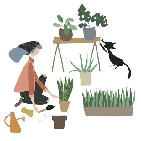 Niña y su gato se sientan en el suelo con herramientas y plantas. La mujer cuida las plantas de la casa tropical: plantar, crecer. Decoración de la casa de moda. Personaje femenino. Concepto de ilustración vectorial. Estilo de dibujos animados plana