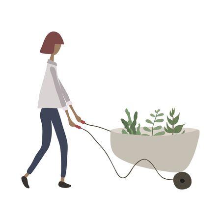 Linda chica primavera, jardinería de verano. Mujer adulta joven con carretilla de plantas. Haciendo trabajos de jardinería: plantar, cultivar, trasplantar brotes. Personaje femenino. Ilustración vectorial. Estilo de dibujos animados plana Ilustración de vector