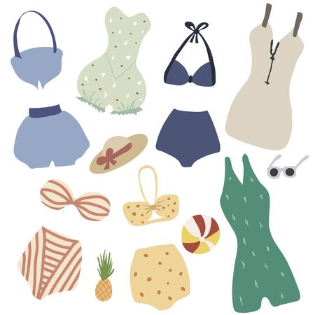 Set of vintage lingerie and swimsuits. Hand drawn retro summer collection. Swimwear design in flat cartoon style Иллюстрация