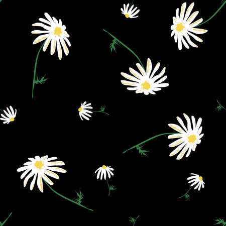 Floral seamless pattern with daisy. Blooming botanical motifs scattered random. Color vector texture