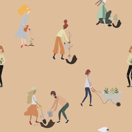 Seamless pattern with people gardening. Women with tools: watering can, wheelbarrow, shovel and plants doing garden work