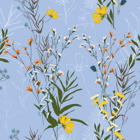 Blossom floral seamless pattern. Blooming botanical motifs scattered random. Modern colorful vector texture.