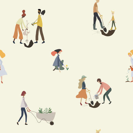 Seamless pattern with people gardening. Women, men with tools: watering can, wheelbarrow, shovel, plants