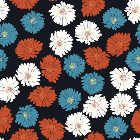 Blossom floral seamless pattern with daisy. Botanical motifs scattered random. Hand drawn flower on black background Illustration