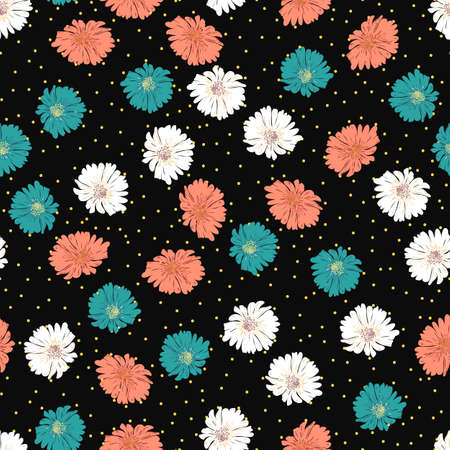 Blossom floral seamless pattern with daisy. Hand drawn flower on black polka dots background Illustration