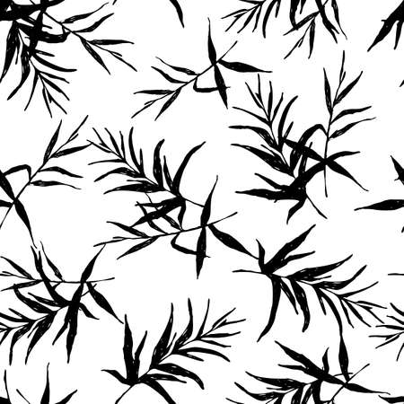 Botanical sketch drawing seamless pattern. Branches with leaves scattered random. Abstract monochrome vector texture.