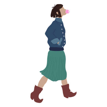Girl in street style look clothing. Young woman walking, making chewing gum balloons. Female character.