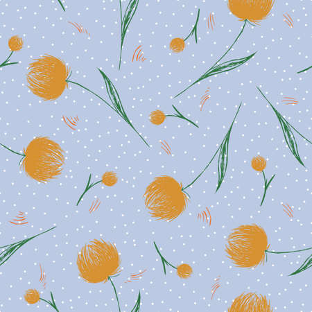 Botanical hand drawing seamless pattern. Branches with flowers scattered random.
