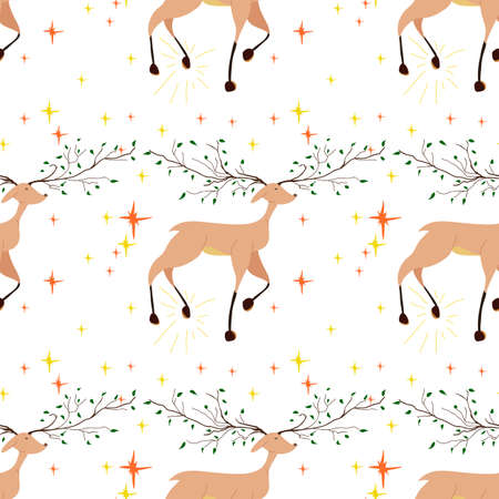 Seamless pattern with beautiful fabulous deer. Deer with antlers in the form of tree branches stomps his hoof. Stock Illustratie