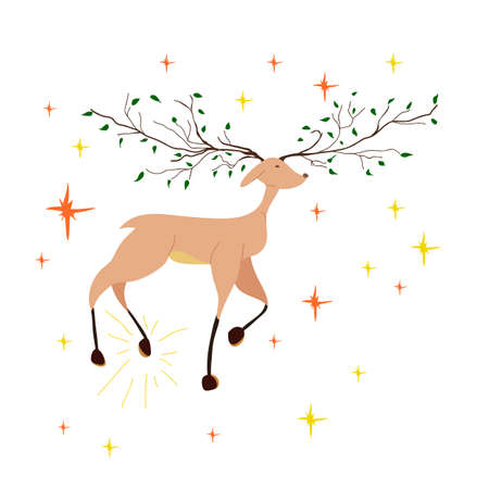 Beautiful fabulous deer stomps his hoof. A young deer with antlers in the form of tree branches. Cartoon character.