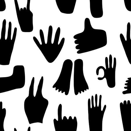 Seamless pattern with abstract hands and legs in different poses. Hand drawn shapes. Various doodle elements
