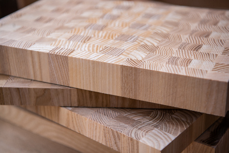 A close up of a plywood boards on the furniture industry.