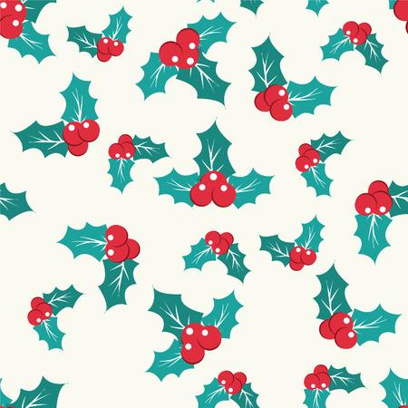 frutos rojos: Navidad bayas de acebo Modelo incons�til de la ilustraci�n del fondo