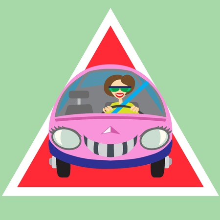 woman driving: Cheerful woman driving car warning sign Illustration