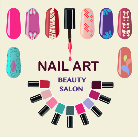 Vector  Set of colorful nail polish bottles. Nails art beauty salon background - Illustration